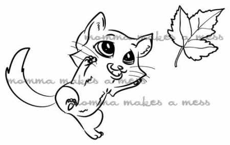cat with leaf watermarked